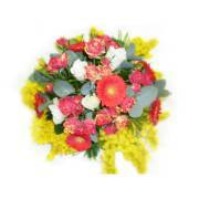 Flowers bouquet with gerbera daisy, rose and mimosa