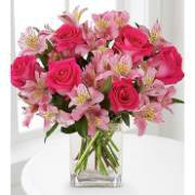 Bouquet with alstroemeria and pink roses