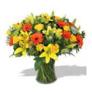 Bouquet with lilium, gerberas, roses, sancarlini and solidago