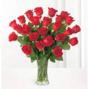Bouquet of 24 long-stemmed red roses
