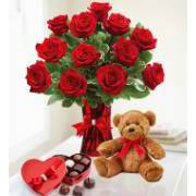 Bunch of 12 red roses with Teddy Bear