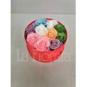 Box of stabilised roses in different colors