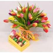 tulips with macarons