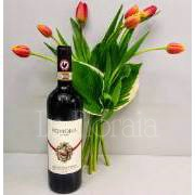 tulips with bottle of wine