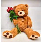 Red Roses with giant Teddy Bear
